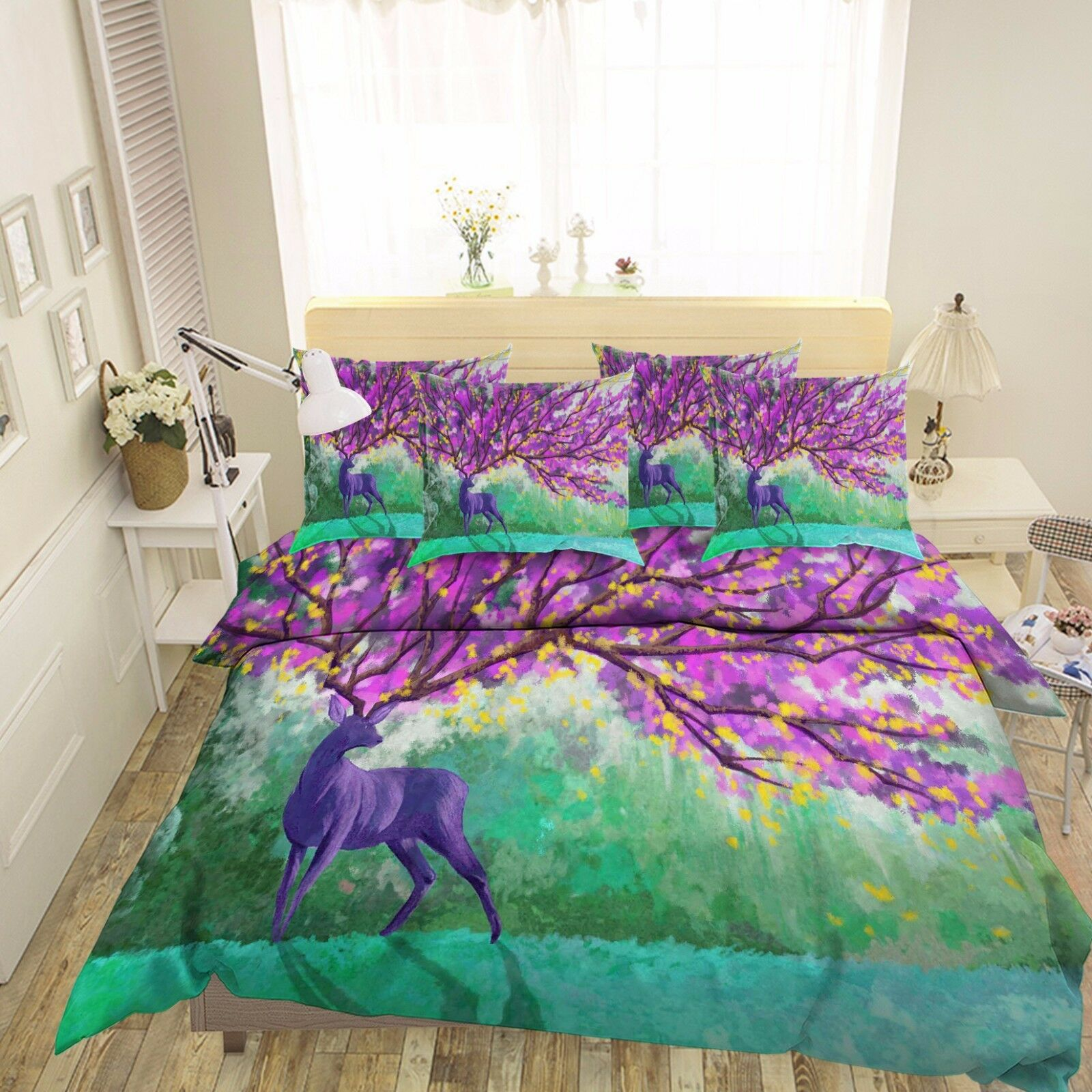 3D Purple Tree Deer 432 Bed Pillowcases Quilt Duvet Cover Set Single Queen CA