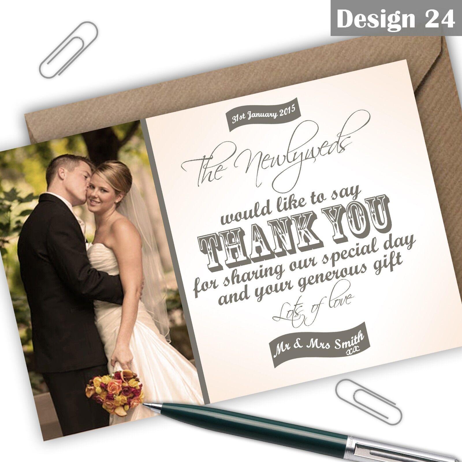 Personalised Vintage Photo Wedding Thank You Cards Free Envelopes