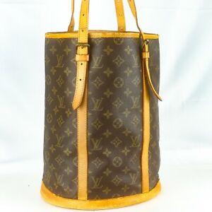 LOUIS-VUITTON-BUCKET-GM-Old-Model-Tote-Bag-Shoulder-Bag-Monogram-Brown