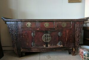 Image Is Loading Vintage Chinese Rustic Altar Buffet Table Tv Stand