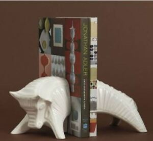 Jonathan Adler White High Fired Stoneware Matte White Bull Bookends  MSRP $138