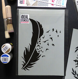 Details About Birds Flying Feather Stencil Wall Decor Art Craft Painting Ideal Stencils Ltd