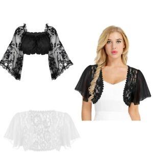 a97d296c78d Details about Women Sheer Lace Chiffon Bolero Cropped Shrug T Shirt Crop  Top Cardigan Sweater