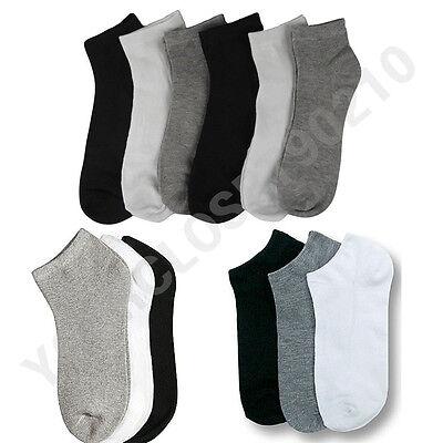 12 Pairs Lot  Men  Women 9-11 10-13 Crew Ankle Cut Sports Socks Black White Gray