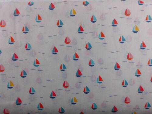 Stoff Baumwolle Patchwork Maritim Fische Boot Muscheln Leuchtturm Meterware 30cm