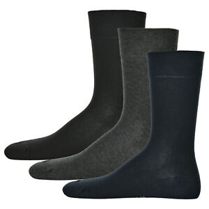 Hudson-3-Pair-Men-039-s-Socks-Relax-Cotton-Without-Rubber-Bands-Black-Grey-Navy