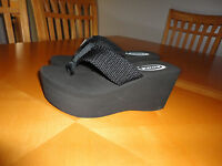 Women High Wedge Sandal Flip Flop Shoes Soda Oxley-s Size 7.5 Black