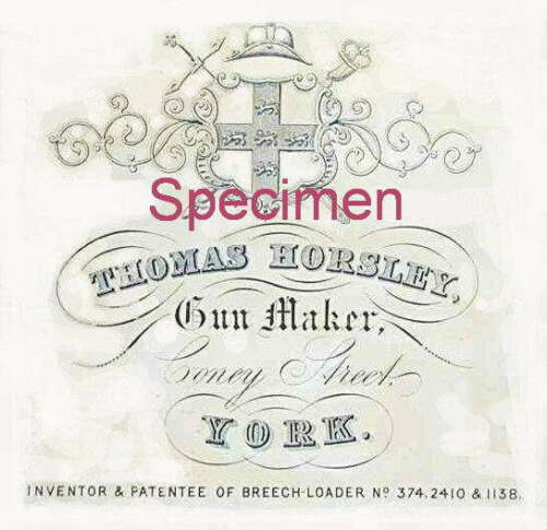 THOMAS HORSLEY GUNMAKER Gun Case etichetta ACCESSORI PISTOLA Maker