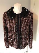BNWT Gorgeous ZARA Red Tweed Beaded Collar Fantasy Blazer Size M