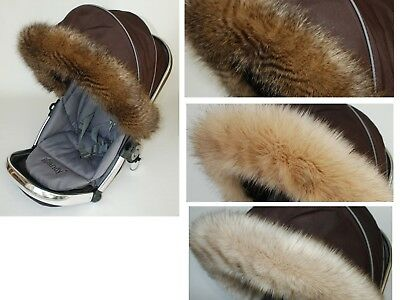 Luxury Fur Hood Trim For Pram Pushchair My Babiie Fit All Models In Cream Catalogi Worden Op Verzoek Verzonden