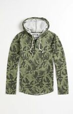 Men's Hurley Curbside Henley Double Knit L/S Hoodie Hooded Shirt Green Camo S