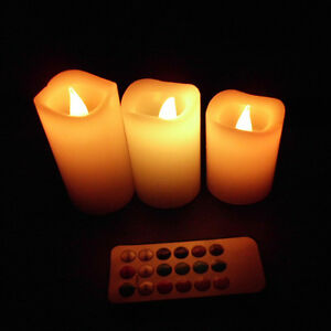 3pcs Wax Battery Operated Remote Control 12 Color Changing