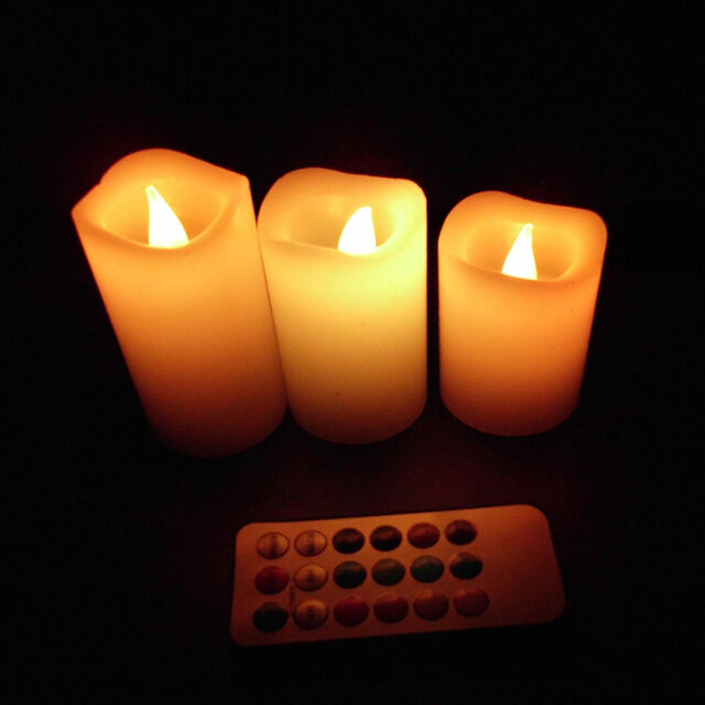 3Pcs Wax Battery Operated Remote Control 12 Color-changing Led Candle Light Set