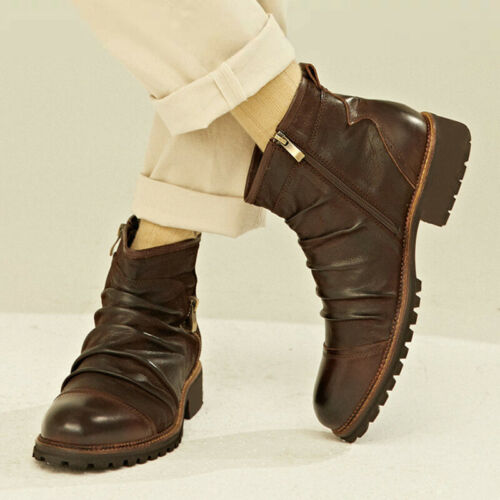 Men Ankle Boots High Top Retro Chelsea Bootie Casual Zip Cowboy Motorcycle Shoes