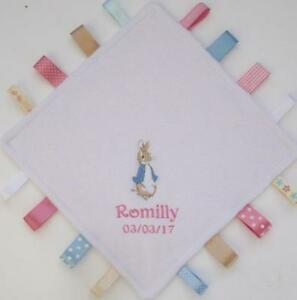 Image is loading Personalised-Peter-Rabbit-Taggy-Blanket-Taggies-Unique-Baby -