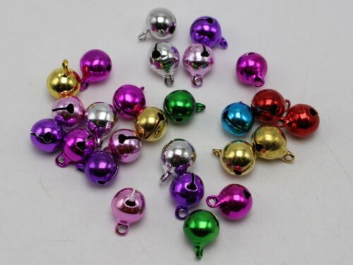Craft hágalo usted mismo Color Mezclado Jingle Bells ~ ~ Campana De Navidad encantos del grano 6 mm 8 mm 10 mm