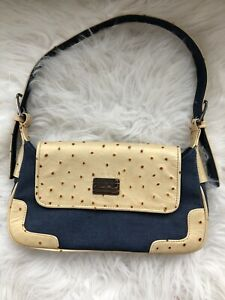 Tommy-Hilfiger-Women-039-s-Handbag-Jean-and-Yellow-Leather-Faux-Ostrich-Handbag