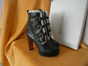 Padovan Ladies Boots Heels Luciano Women Ankle Black Leather 480 High Rrp YU7Y6nrWT
