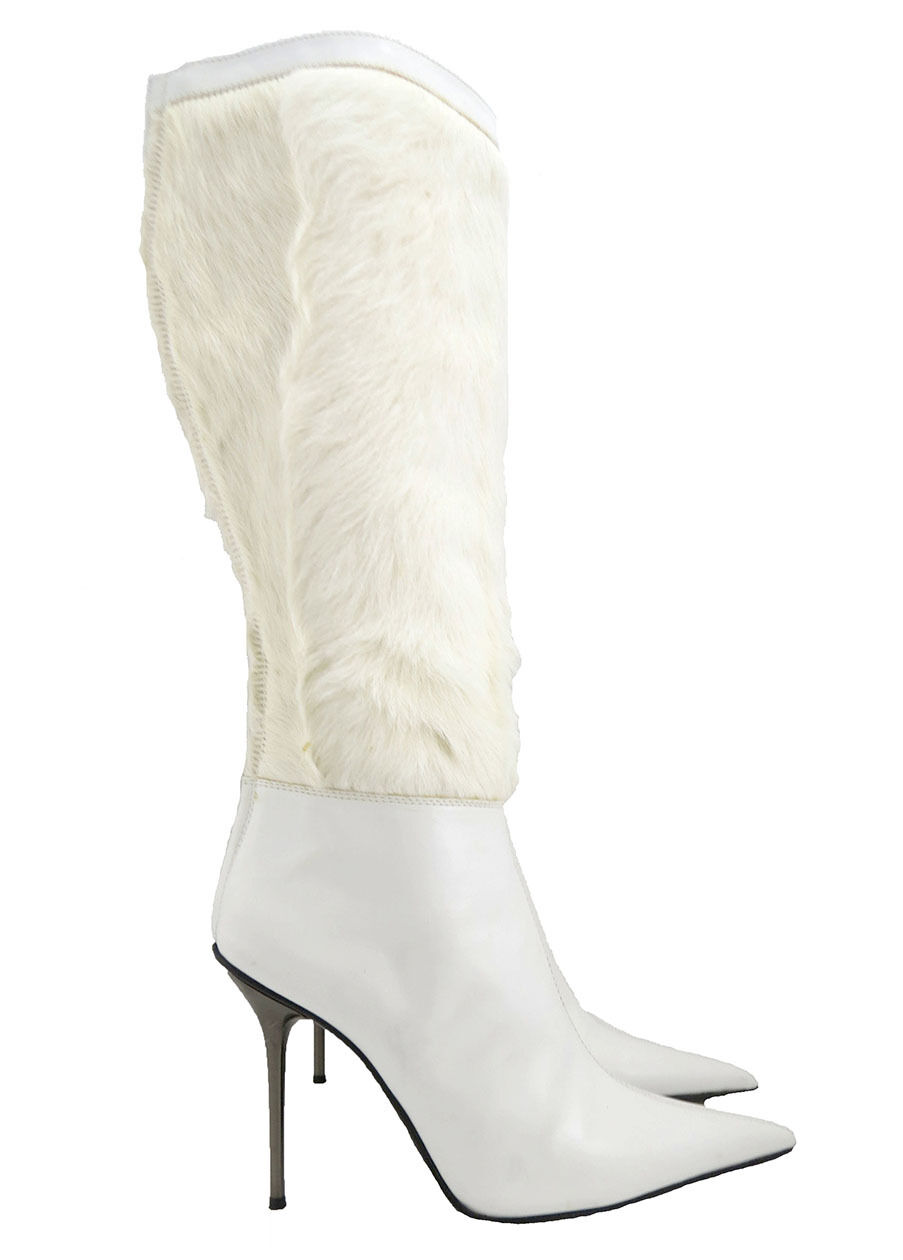Diego Dolcini Winter White Fox Fur Panel Stiletto Knee High Boots Size 40 NEW