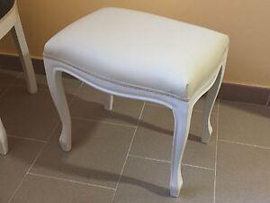 Sgabello pouff legno bianco ecopelle beige offertissima ebay