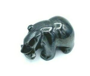 Vintage Hematite Miniature Bear Figurine Holding Fish in Mouth