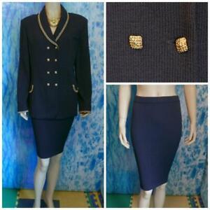 St. John Collection Navy Blue Jacket Skirt  L 14 12 2pc Suit Gold Metallic Trims