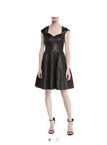 ffb54906ecf0 Image is loading halston-heritage-Black-Metallic-Ponte-Mini-Dress-395-