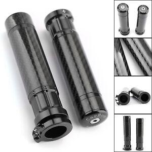 Universel-7-8-034-22-mm-CNC-Carbon-Fiber-Handle-Bar-Grips-Moto-Poignees-Bk-B