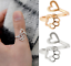 Hollow Paw Print Love Heart Gold Silver Ring Open Adjustable Pet Animal Jewelry