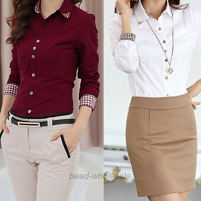 Women OL Shirt Long Sleeve Turn-down Collar Button Blouse Tops Hot 2 Colors