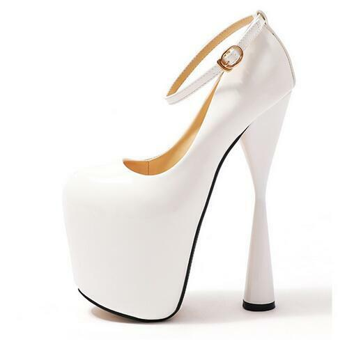 Womens Chunky High Heel 20CM Platform Platform Platform Ankle Strape Pumps Nightclub shoes Plus Sz 8284cc