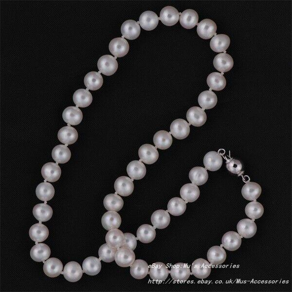 REAL D'Acqua Dolce Coltivate Collana Di Di Di Perle 8-9mm - argentoo Sterling Fibbia f14643