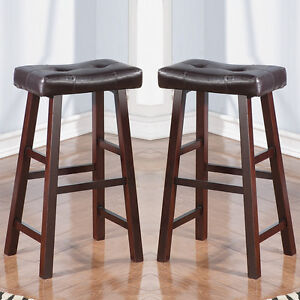 Set Of 2 Dark Cherry Faux Leather Solid Wood 29h Saddle