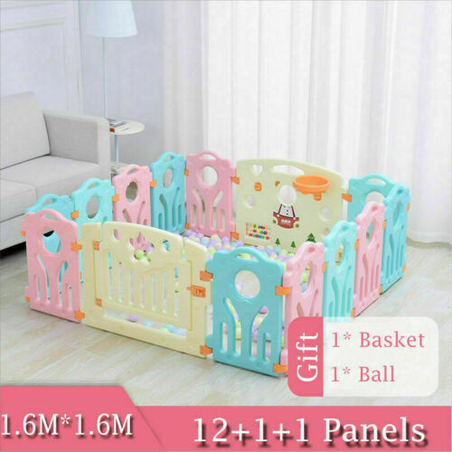 14+2 Panel Large Foldable Baby Playpen Kids Toddlers Indoor//Outdoor Room Divider