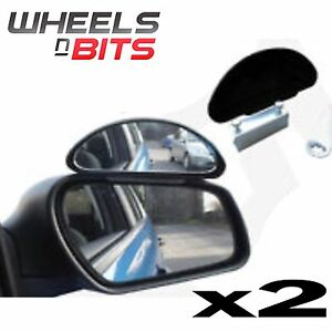 Pair 2x Frog Eye Convex Wide Angle View Van Truck Towing Blind Spot Mirrors