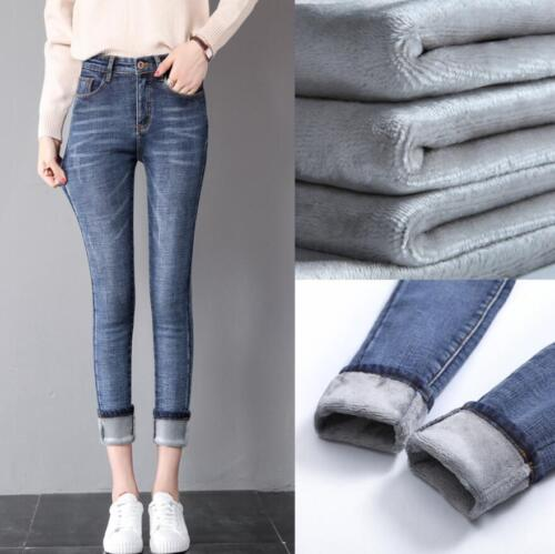 Women Winter Thermal Warm Goods Size Stretch Jeans Pants High Waist Trousers
