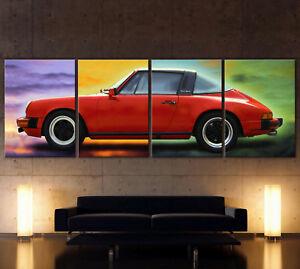 XXL-POP-ART-RED-PORSCHE-911-Leinwand-Bild-Vintage-Targa-Klassiker-Nostalgie-Deko