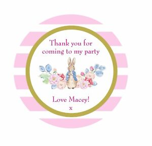 sweet bag seal Personalised Peter Rabbit thank you stickers sweet cone stickers
