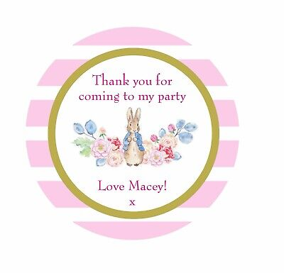 Personalised Peter Rabbit Christening Party Stickers Thank you Sweet Bags Seals