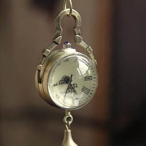 Neu-Retro-Vintage-Bronze-Quarz-Kugel-Glas-Taschenuhr-Halskette-Steampunk