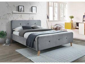 Details zu Polsterbett Doppelbett Grau Blau Stoff Samt 160x200 Schlafzimmer  Bett luxuriös