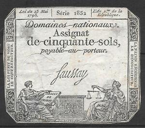 Ticket Assignat De 50 Soils 1793. Series 1852. Révolution. France