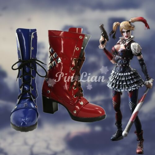 Batman Arkham Knight Harley Quinn High Heal Boots Shoe Cosplay Costume Halloween