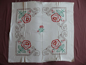 1714-Beautiful-Vintage-Embroidery-Hand-Made-Tablecloth-88cm-81cm-35-039-039-x32-039-039