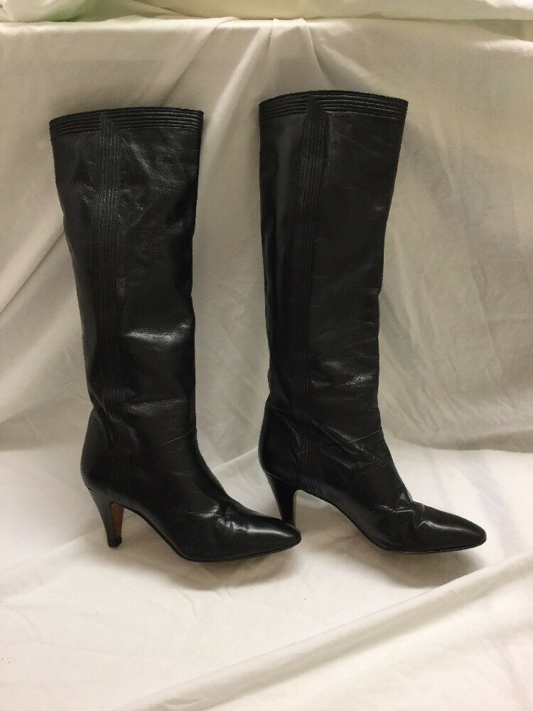 NEIMAN MARCUS WOMENS BLACK Leather TALL Pull On Round Toe BOOTS Sz