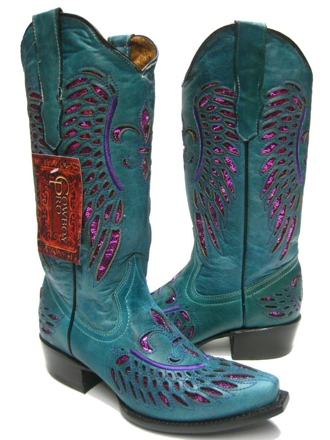 Womens bluee Fuchsia Flower Sequins Leather Cowgirl Wear Boots Pointed Toe Dress