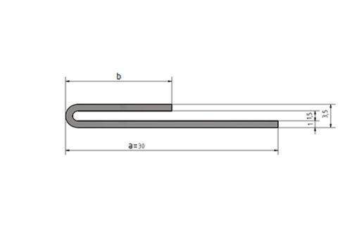 1,0m Einfassprofil Klemmrofil Spalt 1,5mm L=1000mm Edelstahl 1.4301 Schliff K320