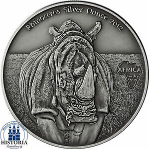 africa series 2012 kongo 1000 francs antique finish rhinoceros silver ounce ebay. Black Bedroom Furniture Sets. Home Design Ideas
