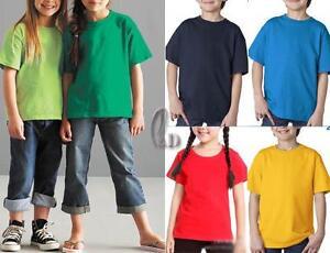 AU SELLER Kids Unisex 100% Cotton Plain Basic Short Sleeve T-Shirt Top Tee kt001