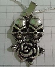 "STIRLING SILVER 925 SNAKE NECKLACE 20""-24""+S/P SKULLHEADS+ ROSE PENDANT IN BOX"